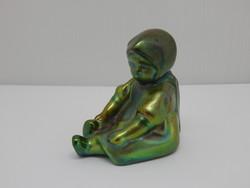 Zsolnay eosin glazed little girl with basket