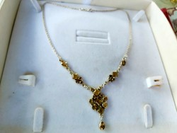 Silver necklace with citrine stones