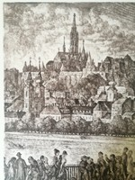 Etching of Vladimir Szabó entitled Buda Towers