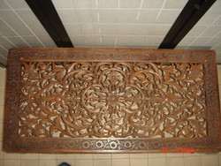 Wood carved coffee table