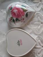 Spode billingsley rose spray angol porcelán szív formájú bonbonier, ékszertartó