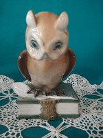 Owl sitting on Zsolnay porcelain book
