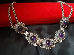 Antique necklace with amethyst stones