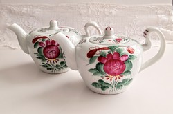 Hand painted small coffee pot with 2 pieces