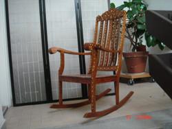 Inlaid wooden rocking chair