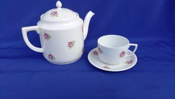 Old rosy zsolnay tea pot and cup with saucer