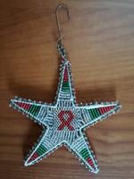 Régi gyöngyös kézműves karácsonyfadísz- különlegesség Ritka