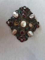 Antique silver brooch with stones