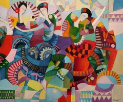 Dance with castanets.-Cubist painting