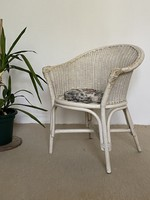 White wicker cane armchair armchair