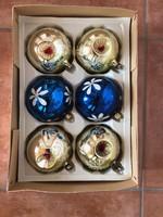 Régi üveg karácsonyfadísz 11 db