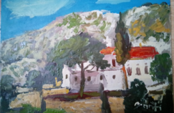 Greece landscape oil painting, painting