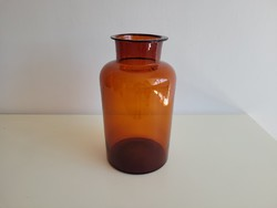 Old vintage large size brown pharmacy flanged glass pharmacy glass pharmacy pot