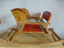 Antique wooden rocking horse, beautiful rare piece