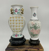 Old Chinese openwork hand painted porcelain vases, vase with private base china japanese asia china vases