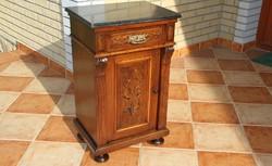 Old German carved marble bedside table
