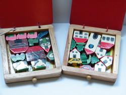 Vintage Levi Toy fa figurák (házak, háziállatok) 2 doboz
