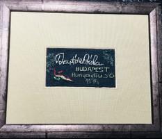 Bartók Béla aláírása textil képzőművészeti alkotás