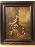 Antik E. Weber vadászzsákmányt ábrázoló festmény a 19. század végéről .