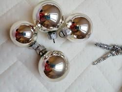 4db ezüst üveg gömb karácsonyfadísz