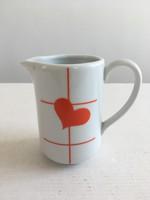 Régi, retro, vintage Alföldi porcelán szívecskés, szív, szívecske mintás tejkiöntő