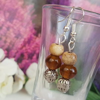 Bone and glass earrings