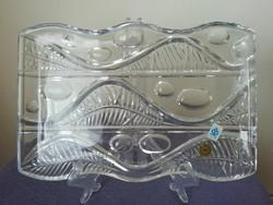 Art deco stílusú Csehszlovák Poltár kristályüveg tál,kínáló,asztalközép