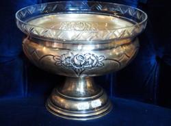 Ezüst asztalközép, csiszolt üvegbetéttel