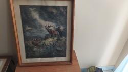 Deer bark etching with 57x70 cm frame prihoda?