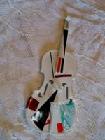 Nagyon ritka, egyedi festésű porcelán hegedű 57 cm!