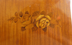 Rose inlaid antique wooden box with shell keyhole