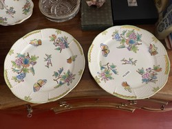 About 1 forint !!! 2pcs original oh herend victorian patterned flat plate.