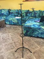 Wrought iron 3-branch candlestick