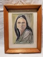 Watercolor painting, female portrait