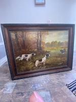 Hunter scene. Painting