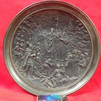 Johann Maresch Életkép Terrakotta Kerámia Tányér,Tál. 27.5 cm