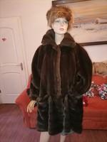 Szebbnél szebbek molett nálam Extra szép nerc műszőrme bunda kabát 46 48 50 120 mellig 95 hossz