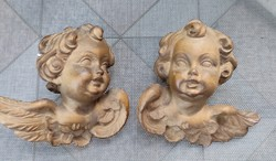Wooden angels in pairs, putties, carved charming festive decorations as well