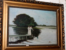 Antik szignált festmény 548