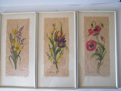 Painted floral pictures made of handmade paper framed by 3 pcs