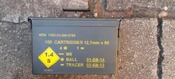 12.7-es lőszeres katonai fém üres láda. Akár utánvéttel is !  158