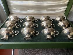 1 Forintról!!! 12 személyes ezüst kávés készlet díszdobozában, 12 darab ezüst kiskanállal! 540 gramm