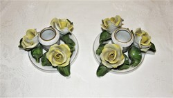 Herend yellow rose candle holder