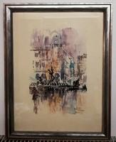 Róma - kvalitásos, gyönyörű festmény, ( tus és akvarell, 30 x 40, gyönyörű keretben ) )