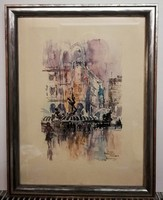 Rome - high quality, beautiful painting, (ink and watercolor, 30 x 40, beautiful frame))