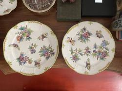 1 Forintról!!! 2 db Eredeti Viktória mintás Herendi porcelán lapos tányér