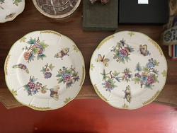 About 1 forint !!! 2 pcs original Victorian patterned Herend porcelain flat plate
