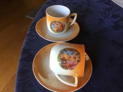 Antique coffee cups, eosin, Czech porcelain