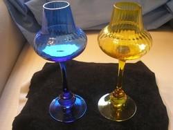 Antik művészi üveg golyós szárú poharak Gyönyörű kék-sárga  színben 24 cm leárazva
