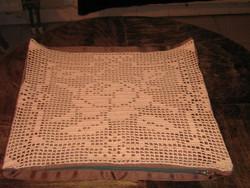 Handmade crochet antique vintage rosy pillow
